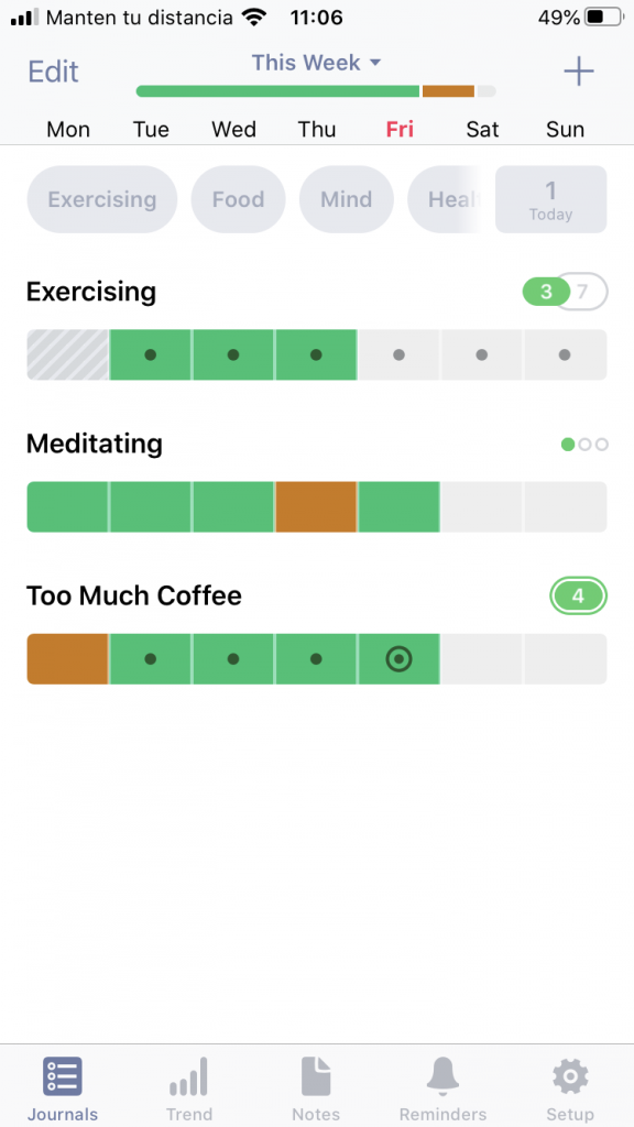 Use colour blind mode to easily track your habits